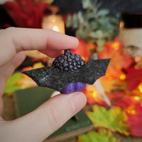 Image of Halloween acorn baby - Vampire Bat