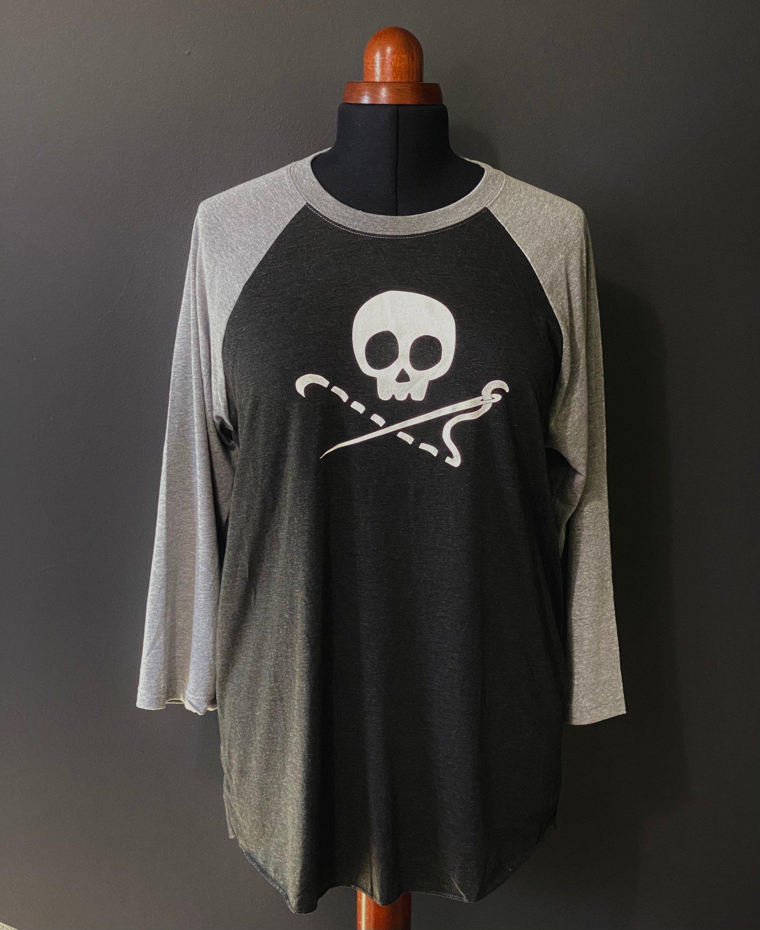 LIMITED EDITION Sewing Skull 3/4 Sleeve Baseball T Shirt