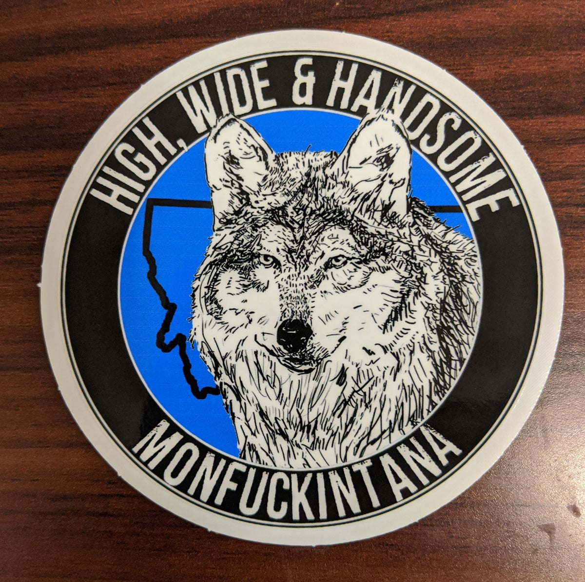 Image of New: High, Wide and Handsome Grey Wolf Sticker