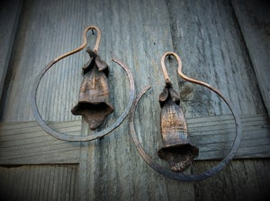Image of Electroplated Foxglove Hoops for Gauged Ears