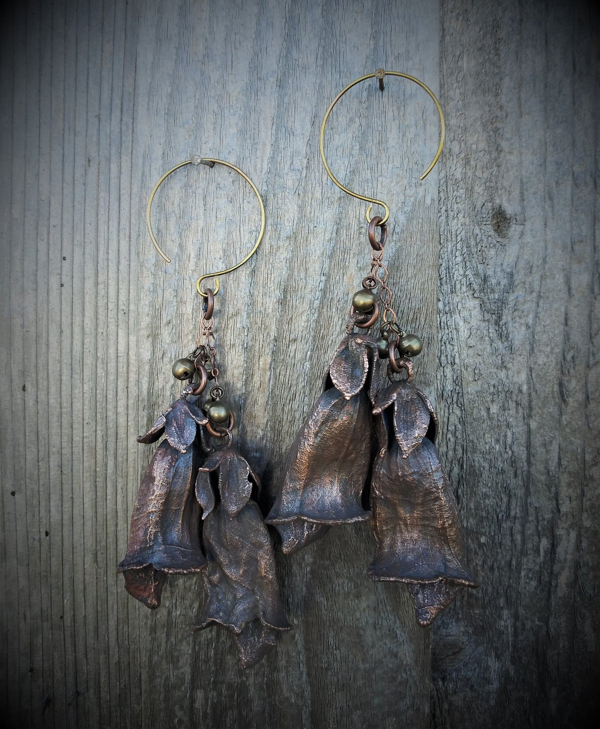 Image of Regular Ear Electroplated Foxglove Dangles with Bells Earrings