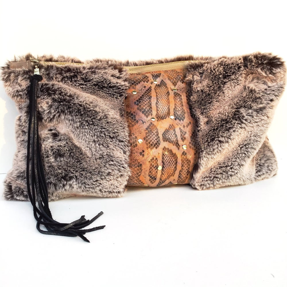 Image of Italian Snakeskin leather with Sherpa Faux Fur