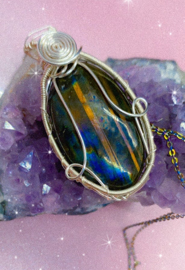Image of rainbow labradorite necklace