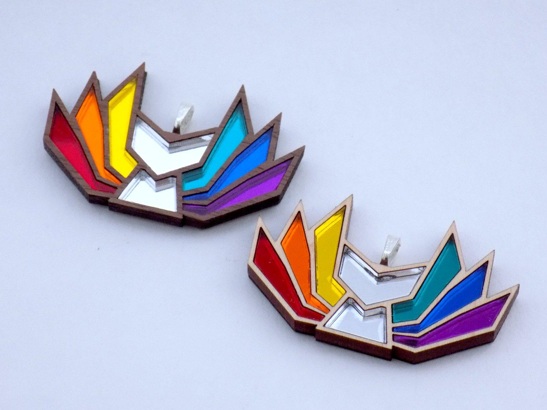 Image of Rainbow Pride Kitsune Necklace