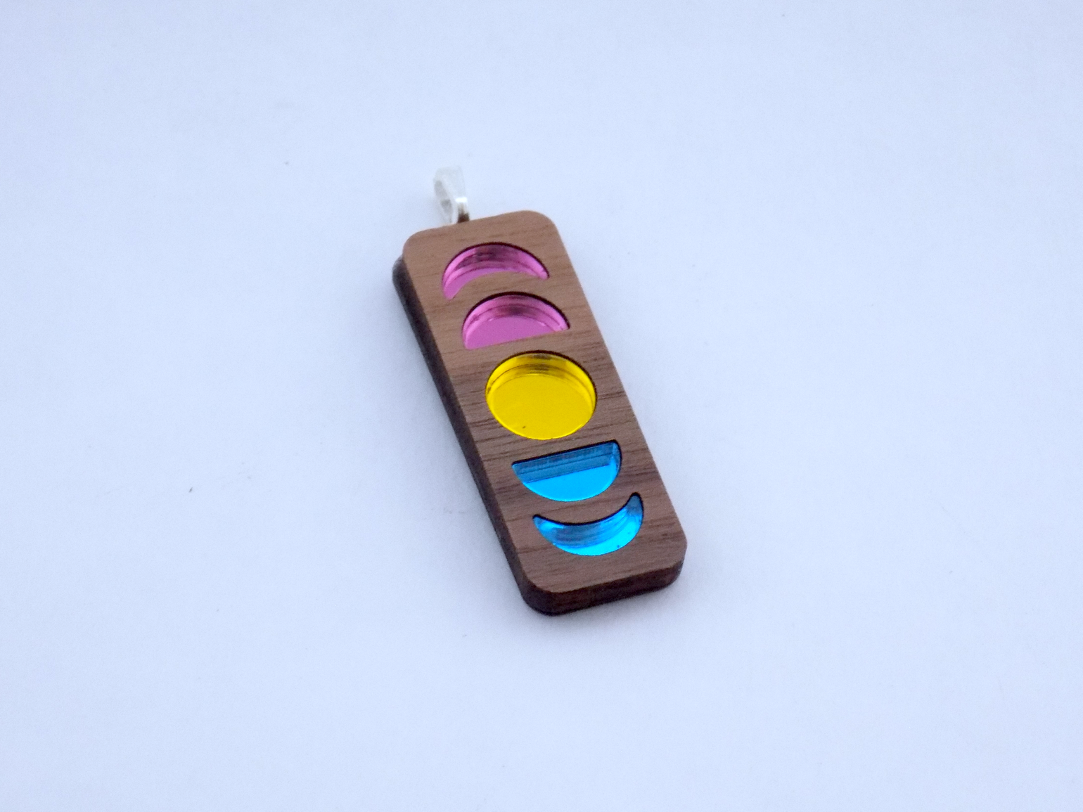 Image of Pansexual Pride Moon Phase Necklace