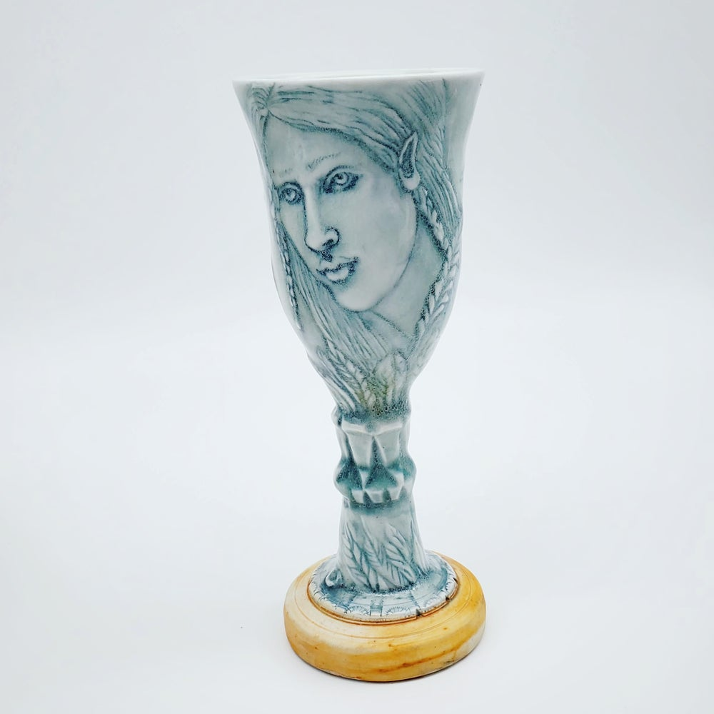 Image of Iced Blue Forest Fantasy Porcelain Goblet