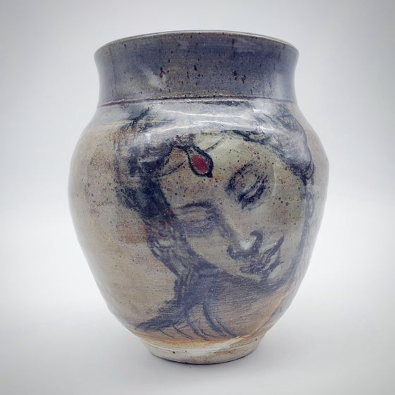 Image of Ruby Portrait Woodfired Stoneware Portrait Vase