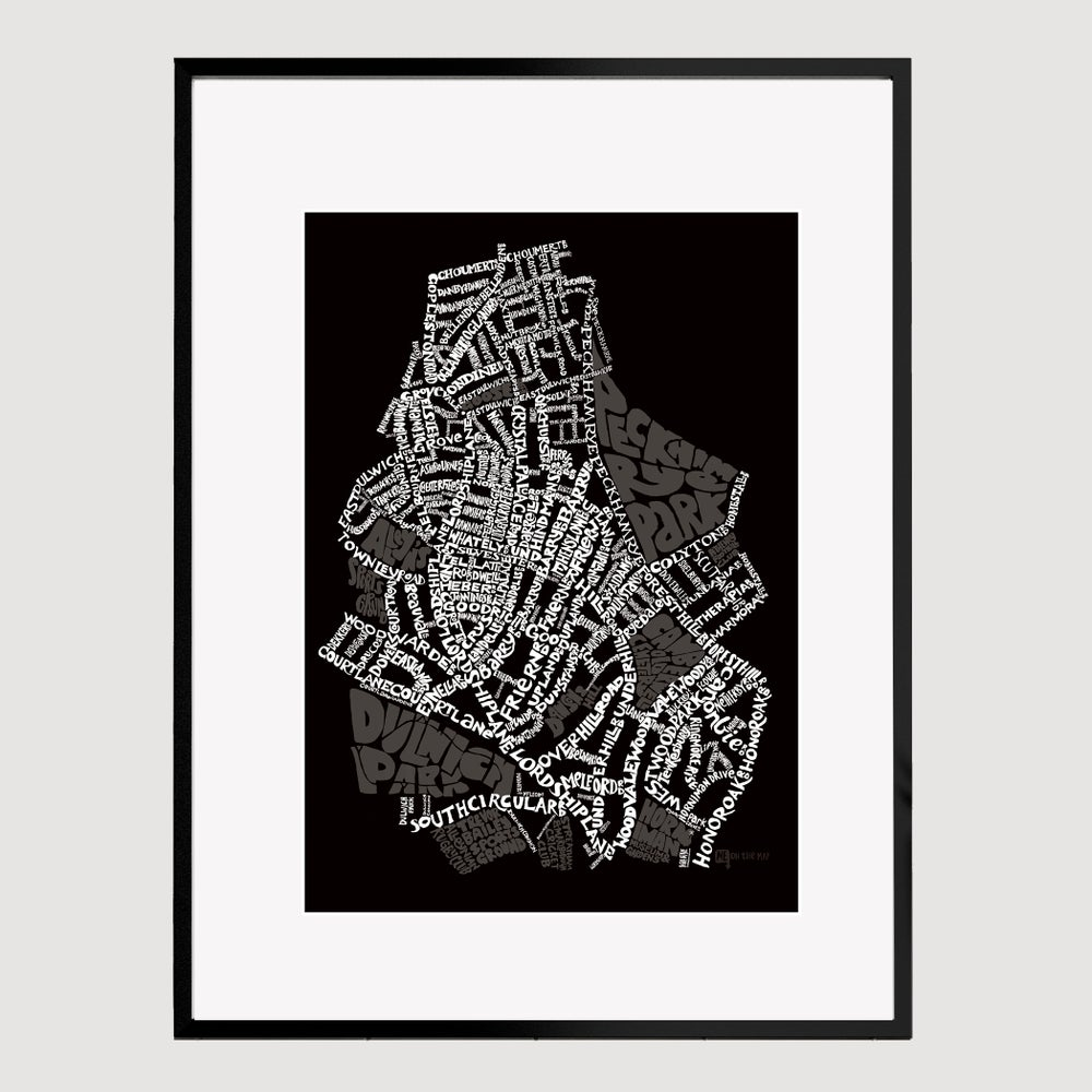 Image of  East Dulwich SE22 - SE London Type Map - White text on black  background