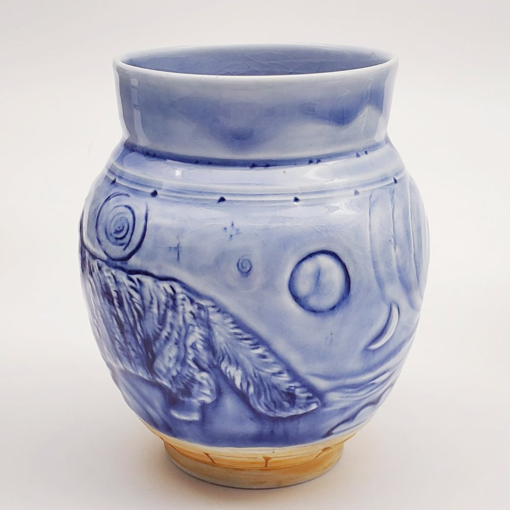 Image of Moonlight Kitty Handcarved Woofired  Porcelain Vase
