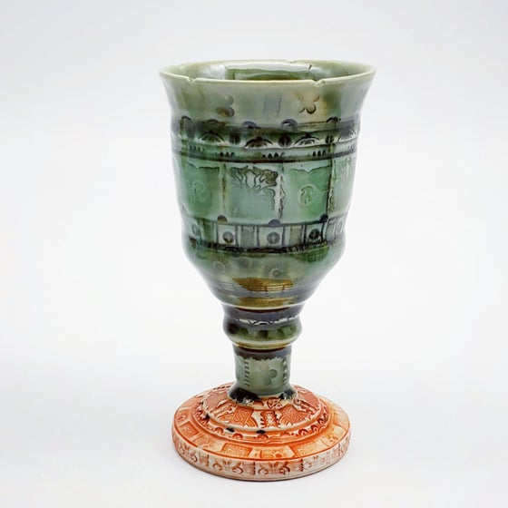Image of Celtic Green Dragon Porcelain Goblet