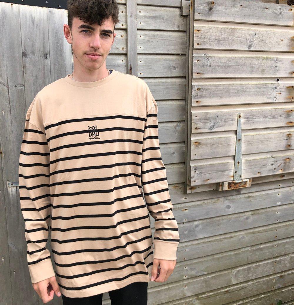 Oversized Longsleeve Striped Tee -  SAND/BLACK