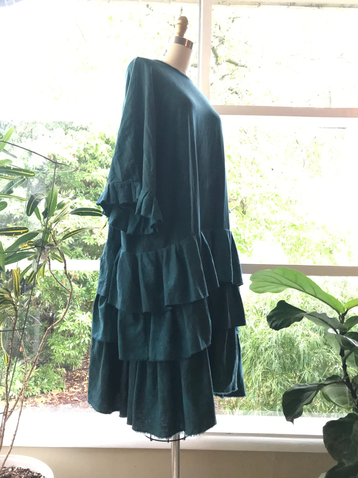 Image of Oversized Linen Tiered Dress