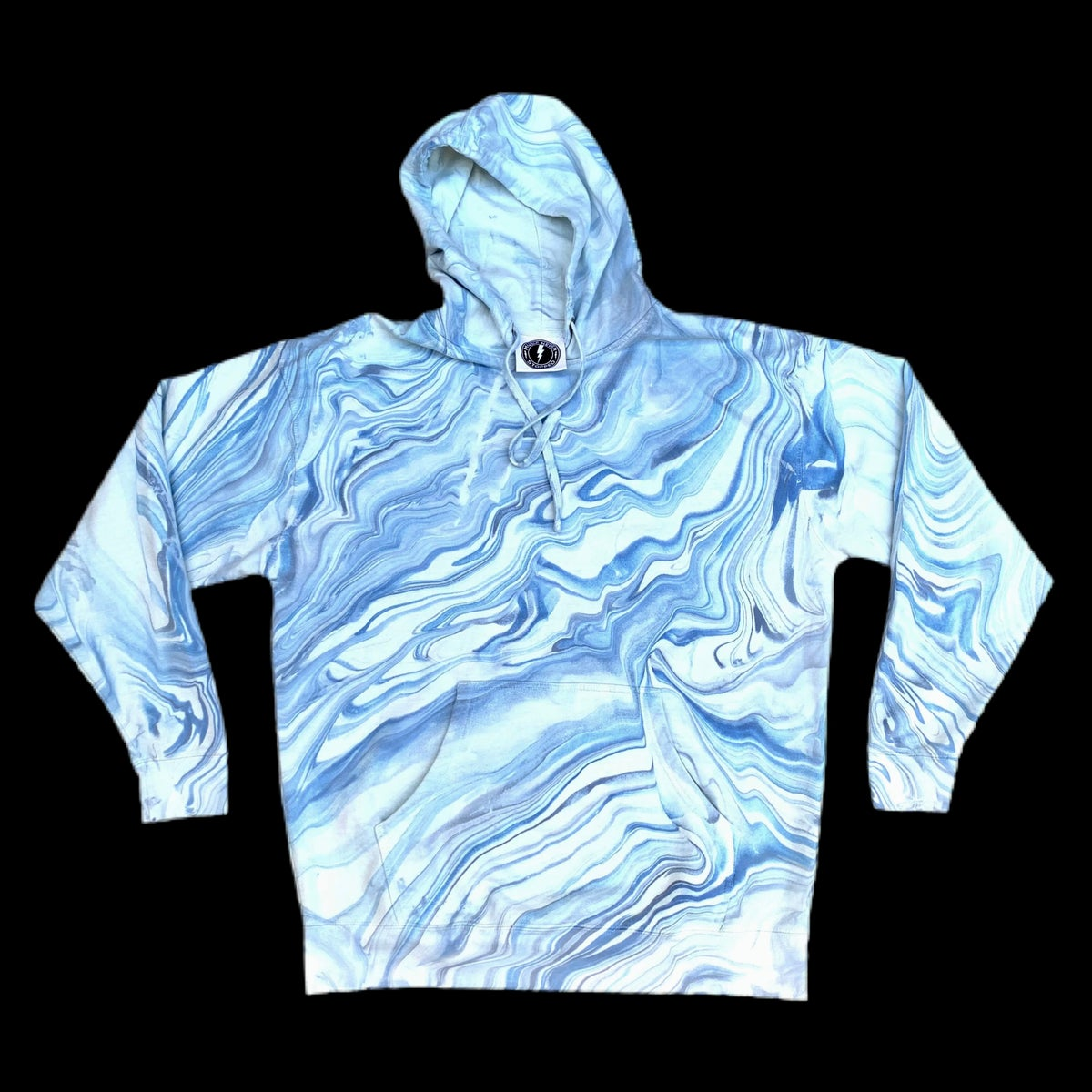 Blue Dream Hand Marble Dyed Unisex Hooded Sweatshirt!