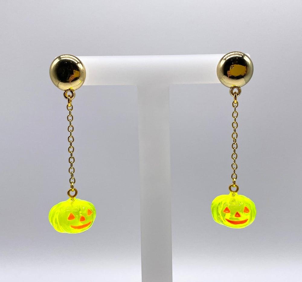 Image of  HALLOWEEN PUMPKIN DANGLE EARRINGS Crystal Yellow