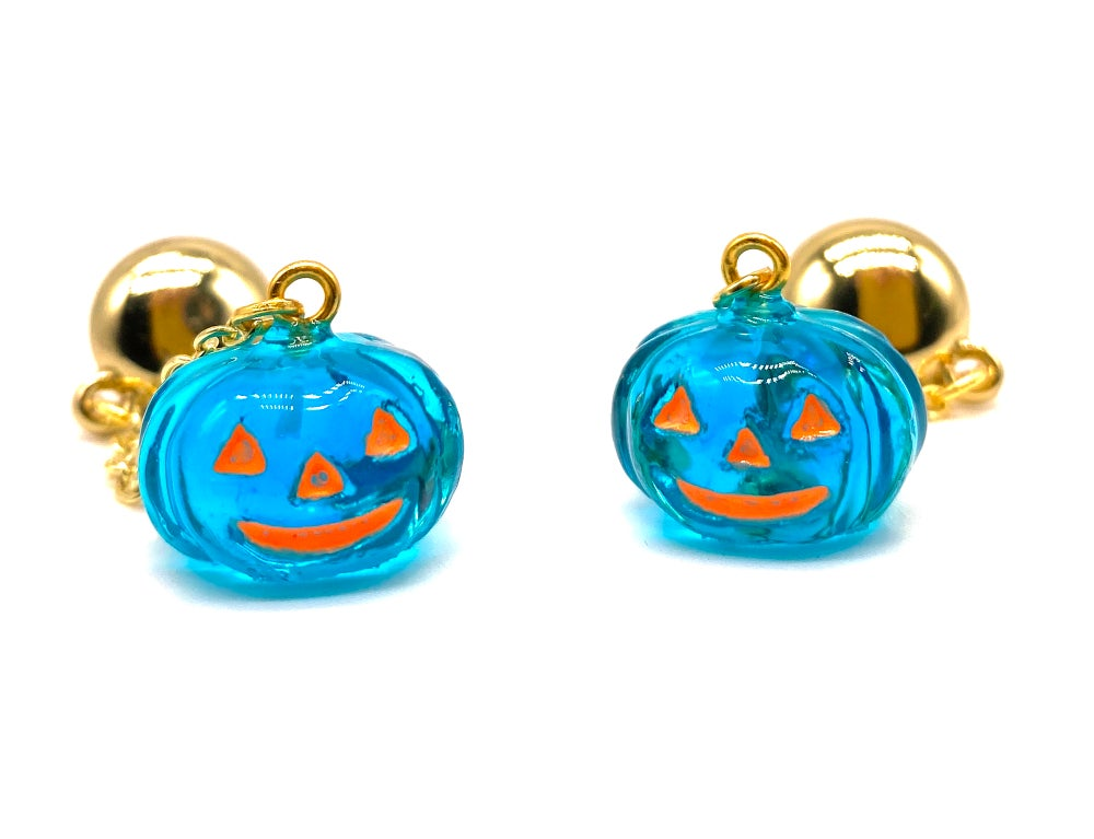 Image of HALLOWEEN PUMPKIN DANGLE EARRINGS Crystal Blue
