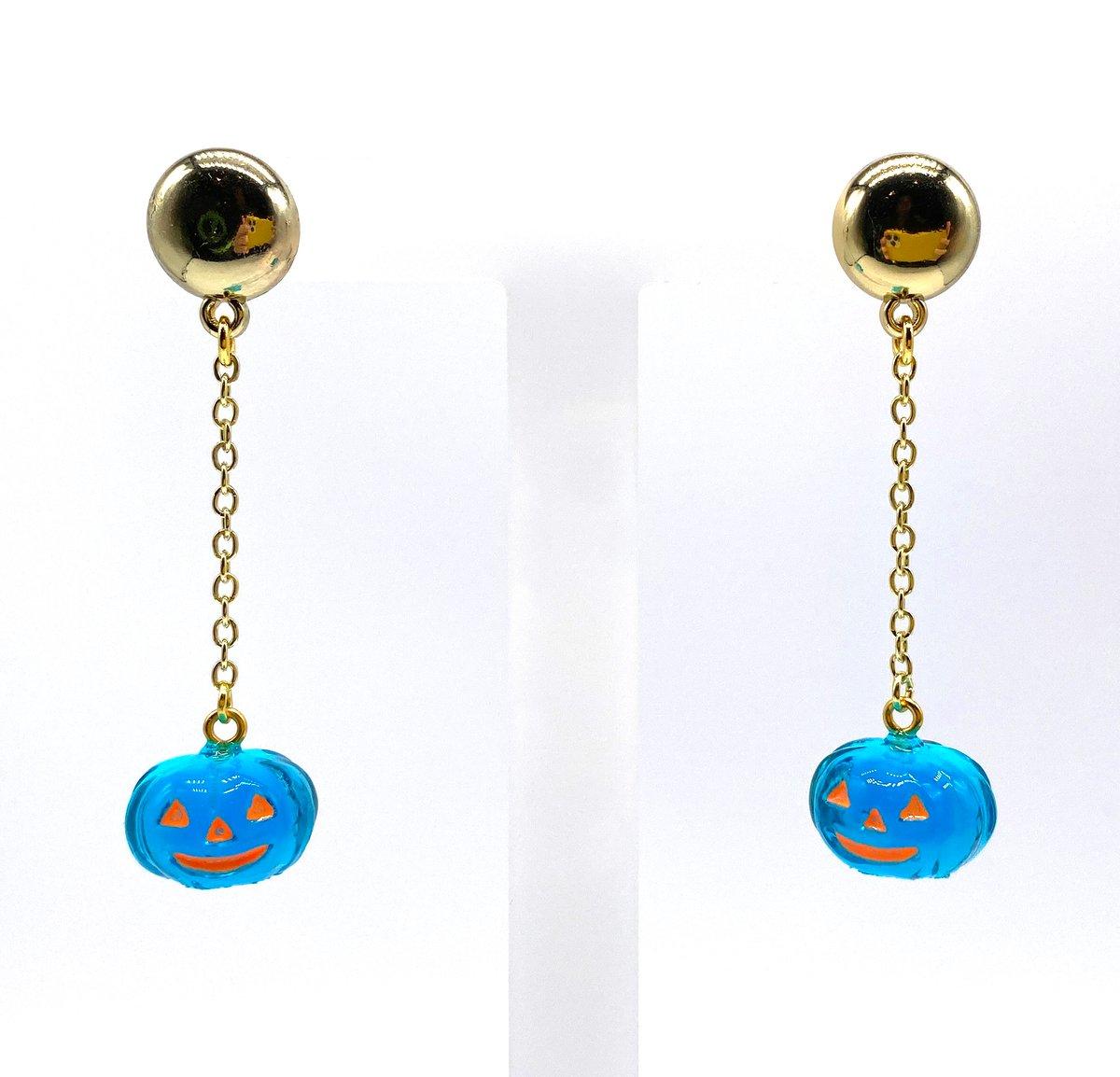 Image of HALLOWEEN PUMPKIN DANGLE EARRINGS Crystal Blue