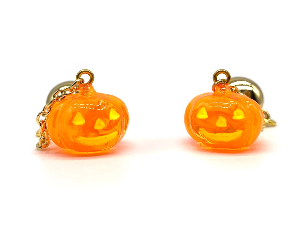 Image of HALLOWEEN PUMPKIN DANGLE EARRINGS Crystal Orange