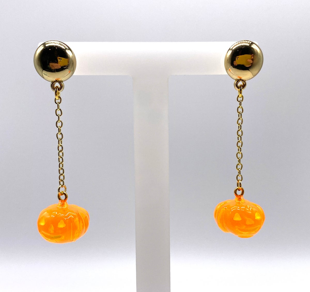 Image of HALLOWEEN PUMPKIN DANGLE EARRINGS Crystal Orange