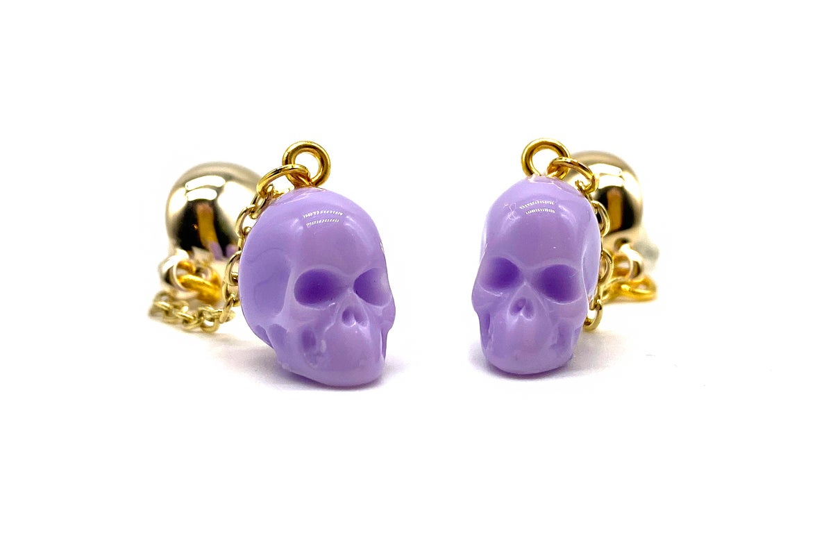 Image of Skull Dangle earrings lavender