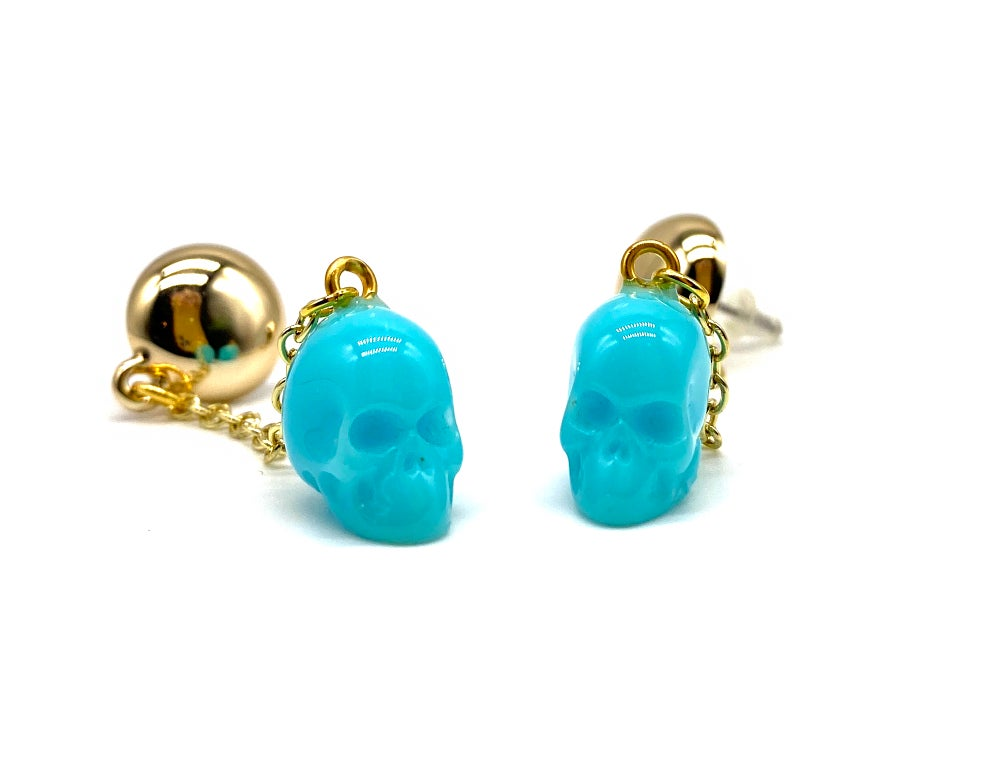 Image of Skull Dangle earrings blue