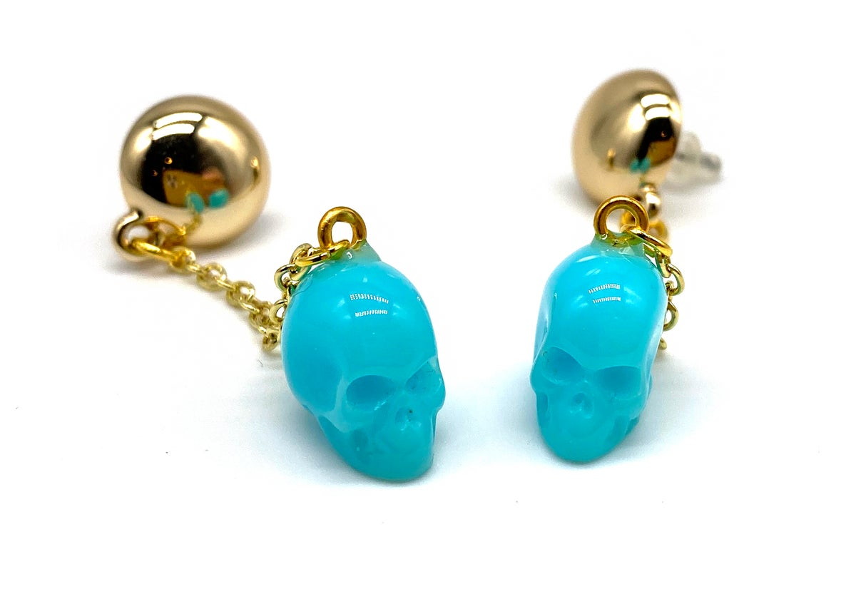 Image of Skull Dangle earrings blue