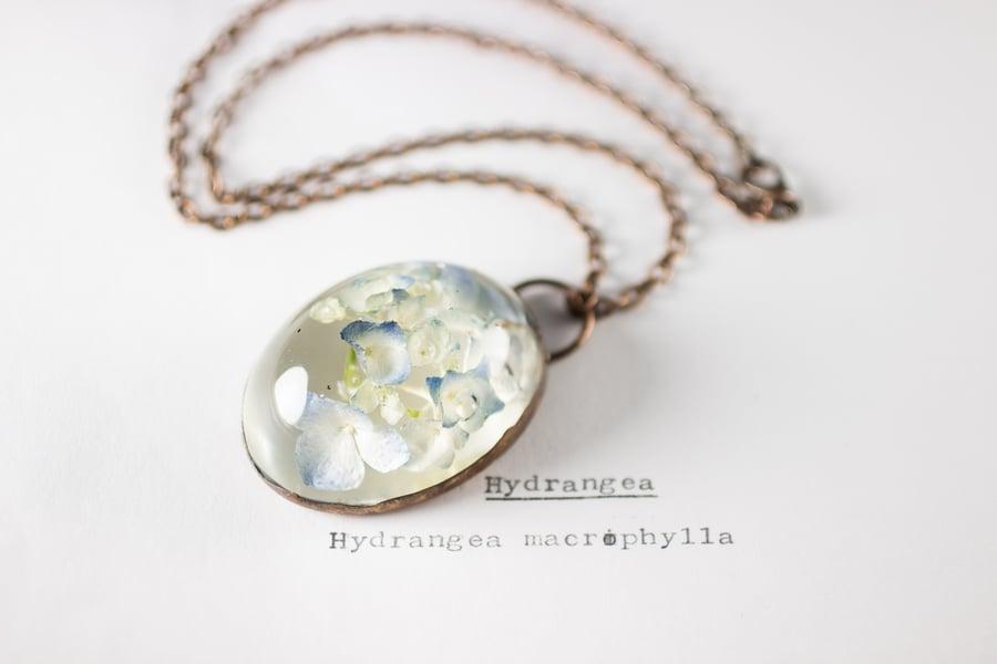 Image of Hydrangea (Hydrangea macrophylla) - Copper Plated Necklace #1
