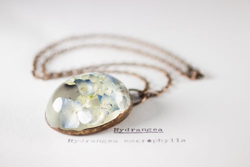 Image of Hydrangea (Hydrangea macrophylla) - Copper Plated Necklace #1