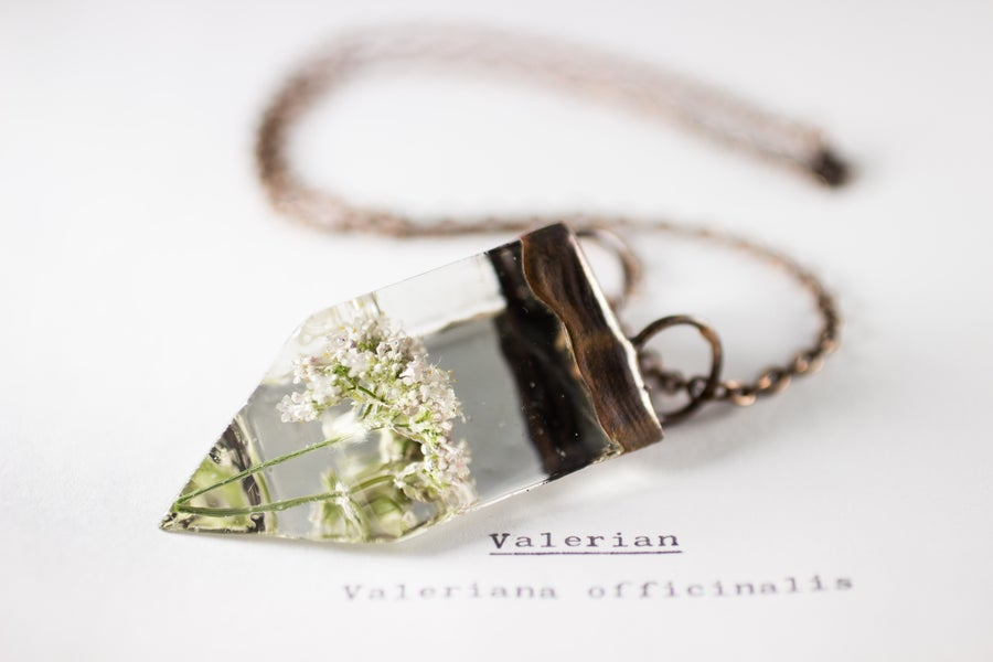 Image of Valerian (Valeriana officinalis) - Small Copper Prism Necklace #5
