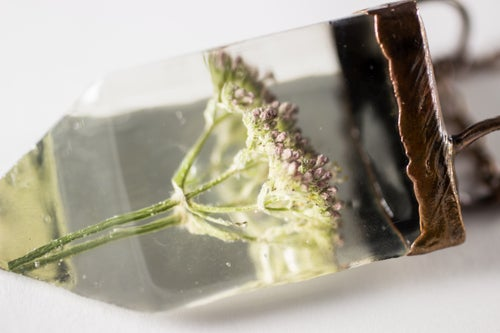 Image of Valerian (Valeriana officinalis) - Small Copper Prism Necklace #6