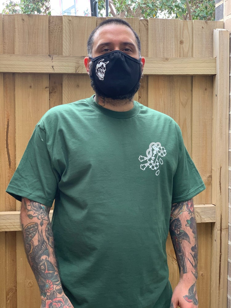 Image of Snake in the Blossoms Tee in Green by - Rudie Rashid