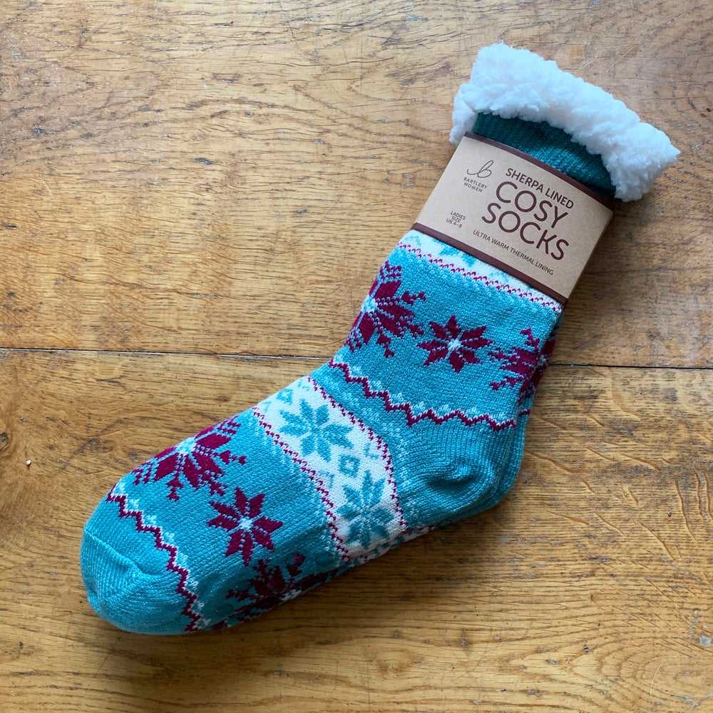 TEAL SHERPA LINED COSY SOCKS • SIZE 4-8