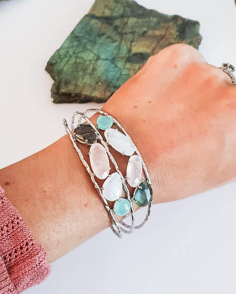 Image of Rose Quartz, Labradorite, Moonstone and Aqua Onyx Cuff