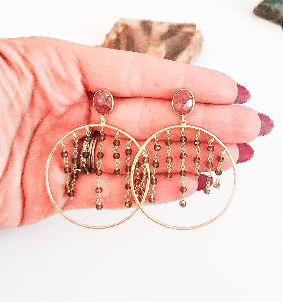 Image of Smoky Quartz and Strawberry Quartz Hoop Earrings