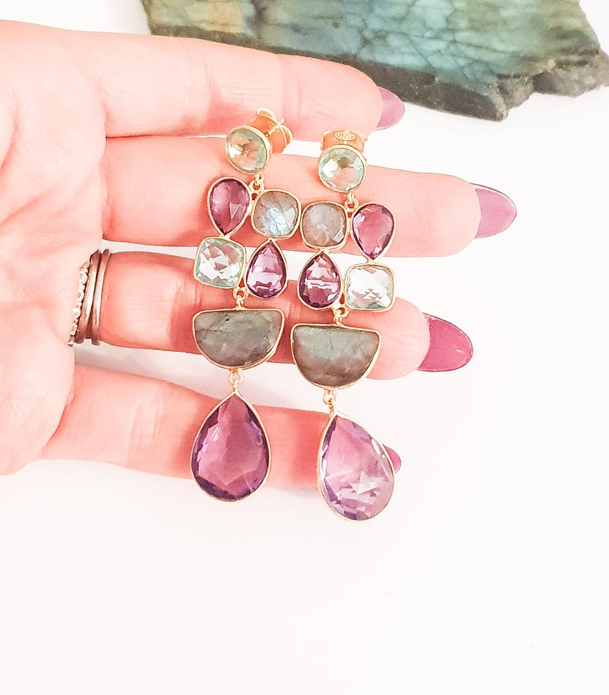 Image of Amethyst, Topaz and Labradorite Statement Earrings