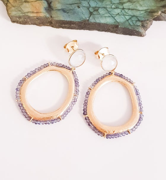 Image of Iolite and Chalcedony Hoop Earrings