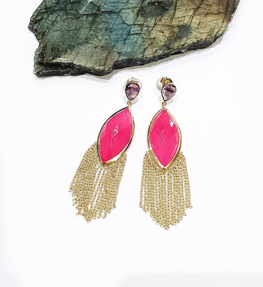 Image of Pink Onyx and Amethyst Chandelier Earrings
