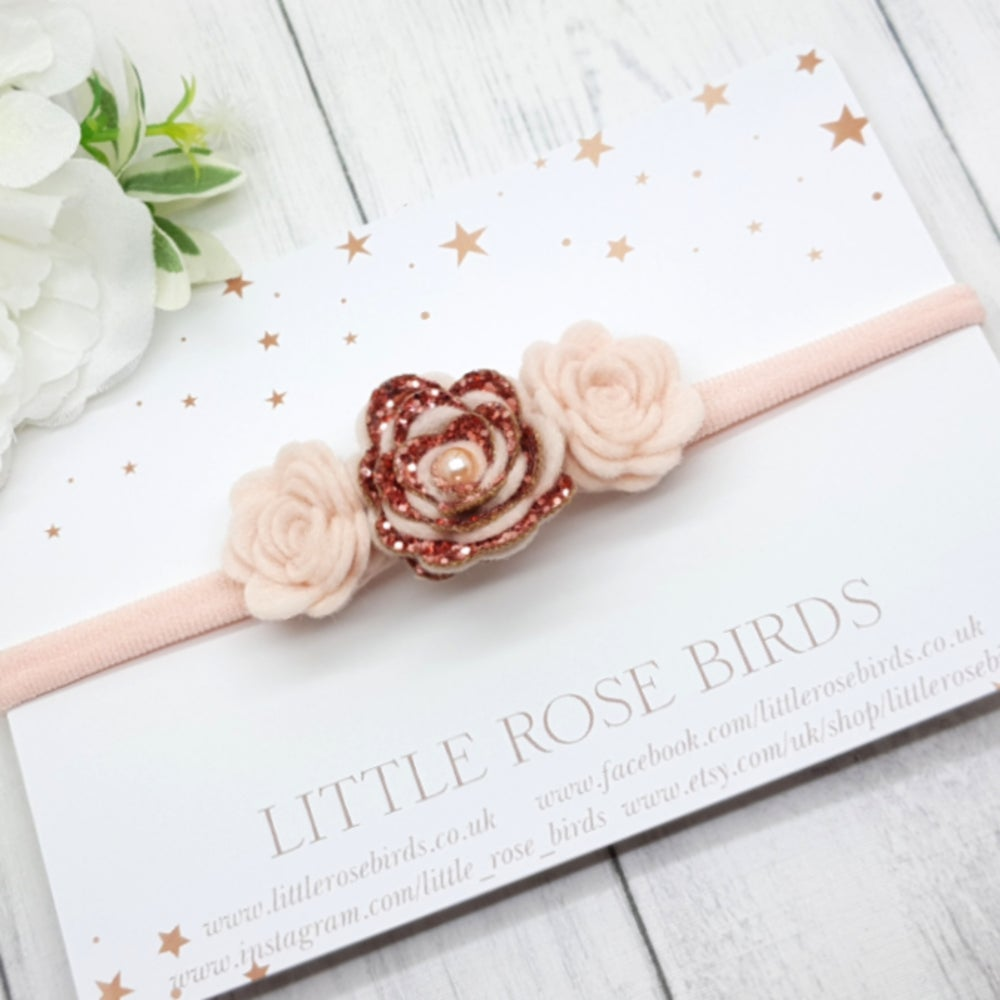 Image of Rose Gold 3 Rose Headband