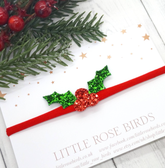 Image of Holly & Berry Bow - Choice of Headband or Clip