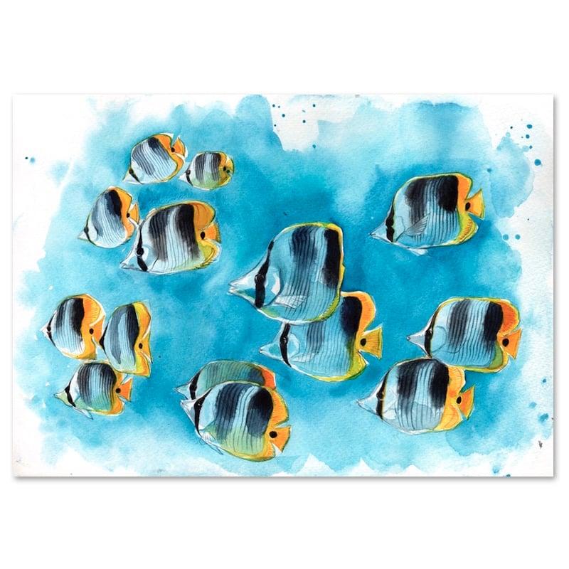 """Image of Original Painting - """"Banc de poissons papillons à deux selles"""" - 21x30 cm"""