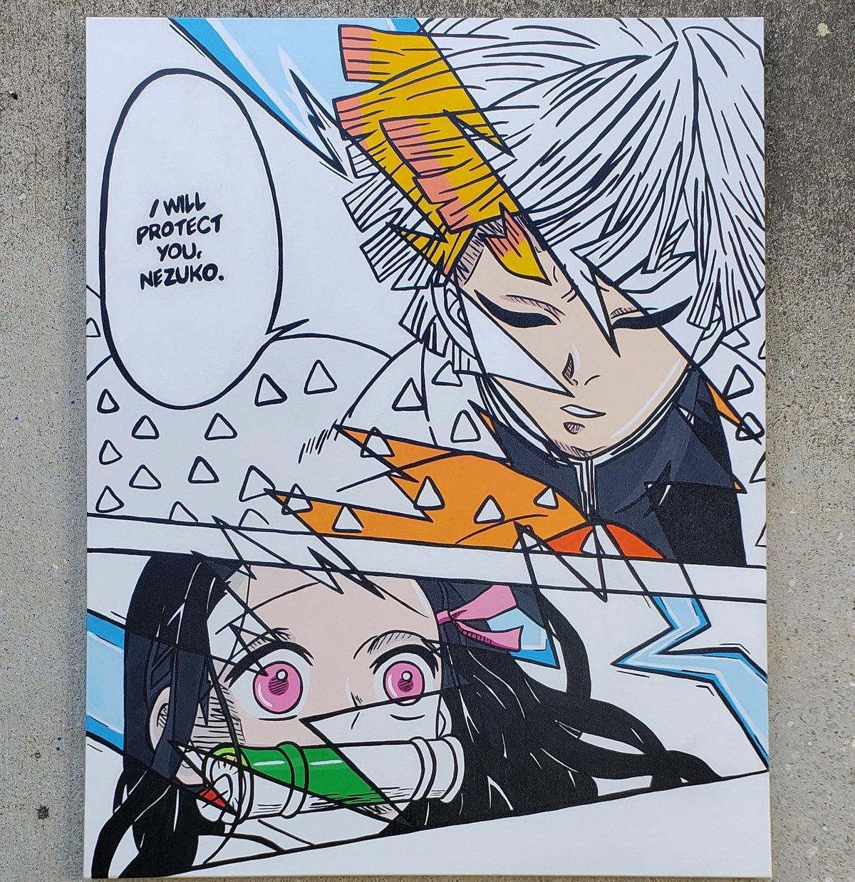 Image of 5x7 Print- I Will Protect You/ Zenitsu & Nezuko (Manga X Anime Blend)