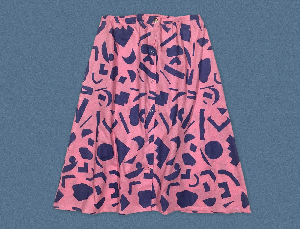 Image of BLUE CUT OUTS PINK SKIRT