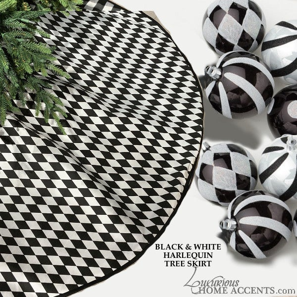 Image of Black and White Harlequin Theme Christmas Tree Skirt