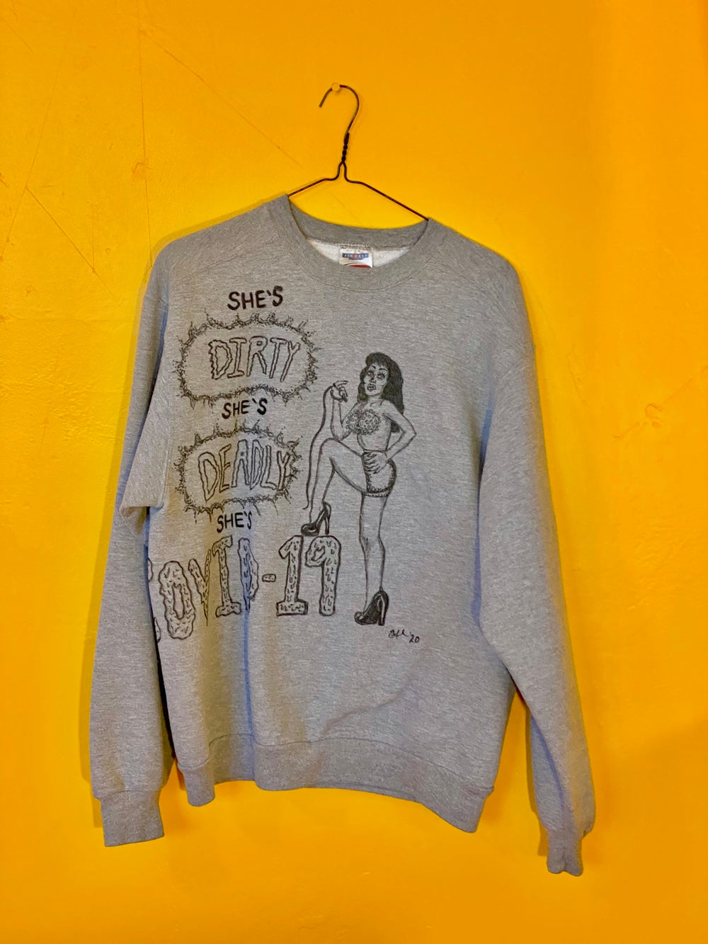 Covid-19 Girl Sweater *one of a kind!*