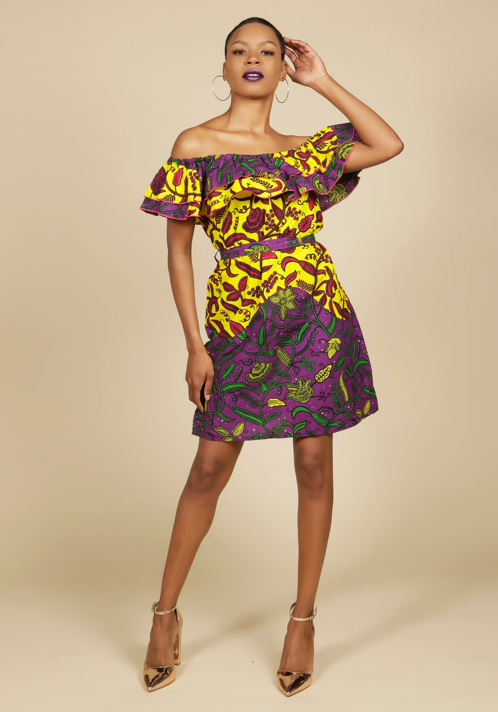 Image of Off the Shoulder Ruffle Dress