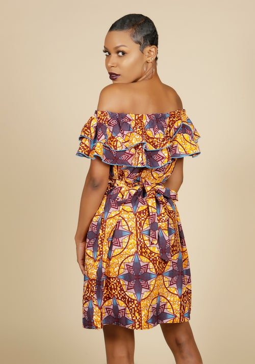 Image of Off the Shoulder Ruffle Dress print 2