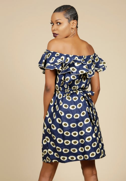 Image of Off the Shoulder Ruffle Dress Print 3