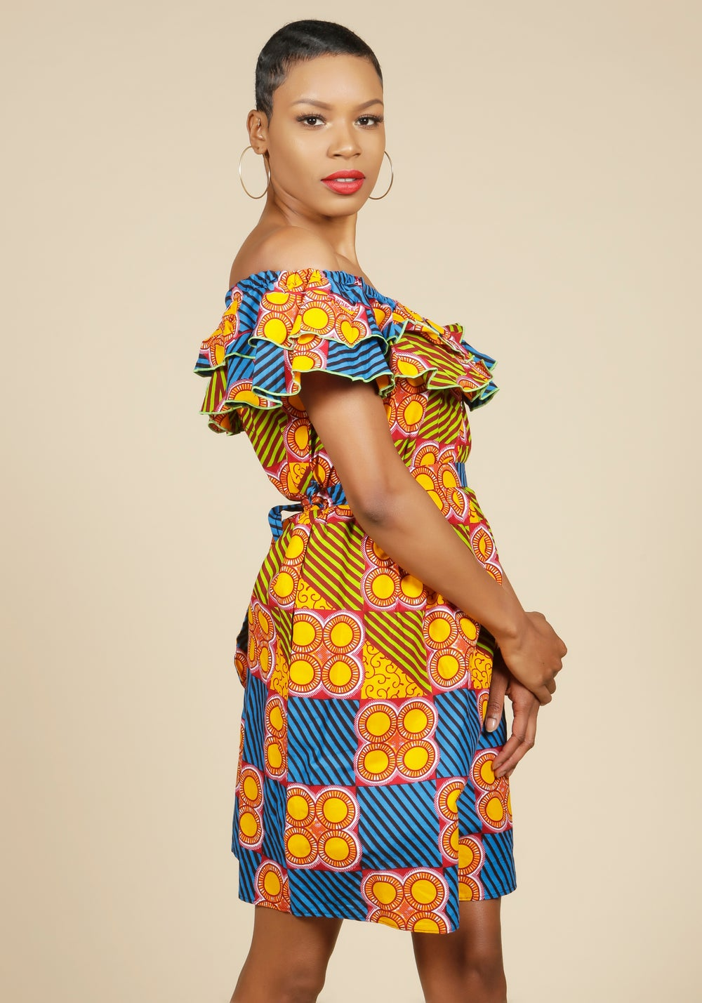 Image of Off the Shoulder Ruffle Dress Print 4