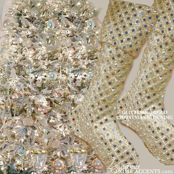Image of Gold Jeweled Christmas Stocking