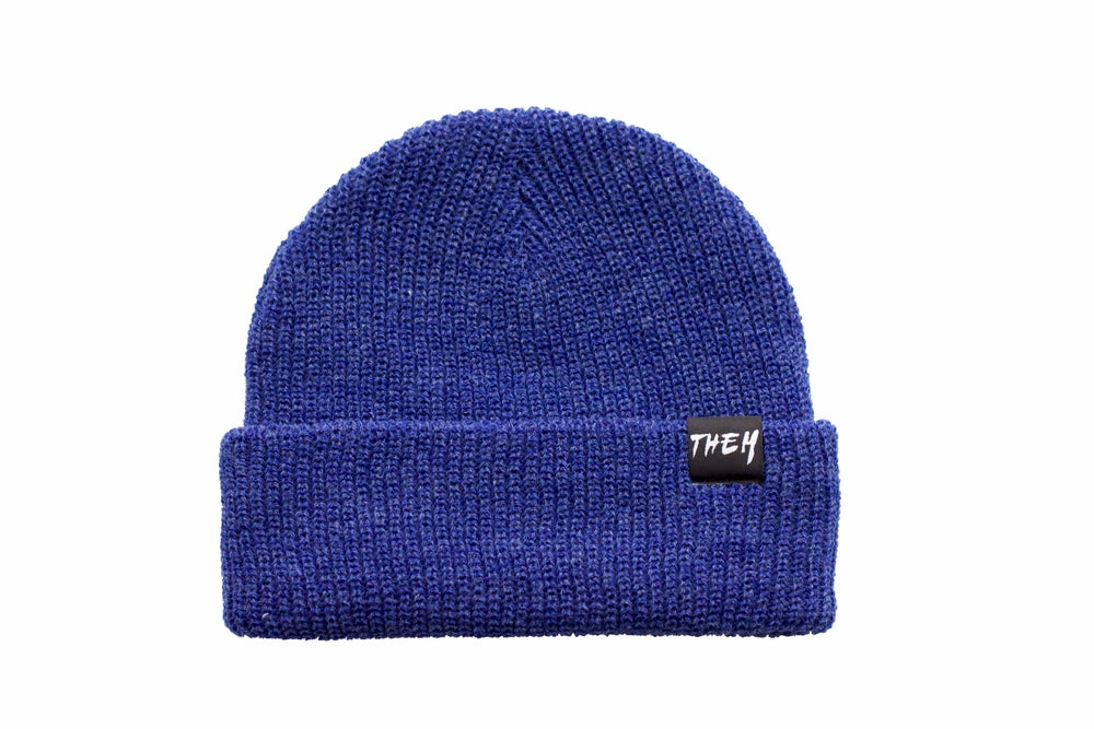 Image of Basic Beanie - Heather Royal Blue