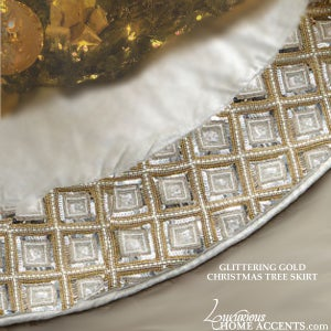 Image of Gold and Silver Jeweled Christmas Tree Skirt